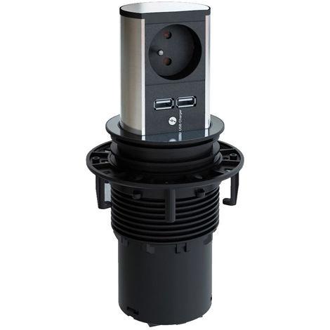 Borne multiprise escamotable elevator - Version : 1 prise secteur + 2 USB - BACHMANN