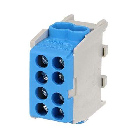 Bornier bleu enclipsable sur rail DIN pour câble Neutre