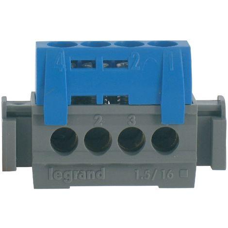 Bornier de neutre - 4 bornes pour câble 1,5 à 16mm ² - bleu