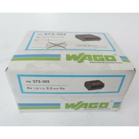 Bornier de raccordement auto 4 entrées pour fil rigide 1mm²-2.5mm² isolé gris foncé (boite de 100) WAGO 273-102