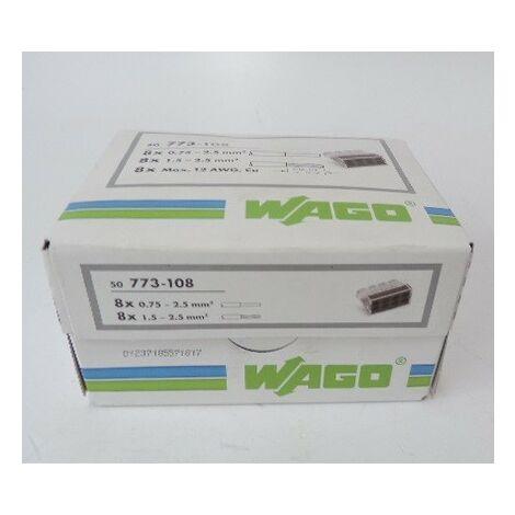 Bornier de raccordement auto 8 entrées pour fil rigide 0.75mm²-2.5mm² isolé transparent (boite de 50) WAGO 773-108