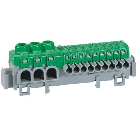 Bornier de répartition IP 2X - connexion auto - 3 bornes à cage - L 98 mm