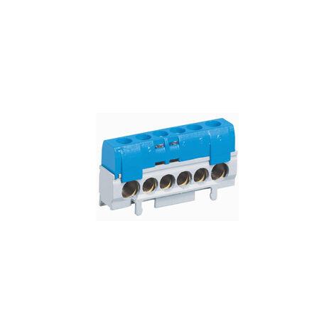 Bornier de répartition IP 2X - neutre - 1 connexion 10 à 35 mm² - bleu - L 62 mm