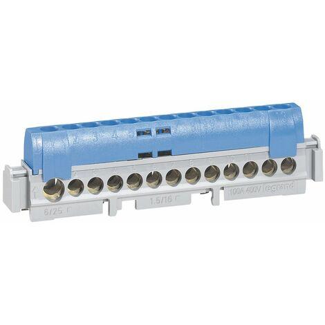 Bornier de répartition IP 2X - neutre - 1 connexion 6 à 25 mm² - bleu - L 113 mm