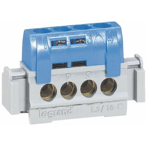 Bornier de répartition IP 2X - neutre - 4 connexions 1,5 à 16 mm² -bleu- L 47 mm