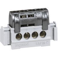 Bornier de répartition IP 2X - phase - 4 connexions 1,5 à 16 mm²- noir- L 47 mm