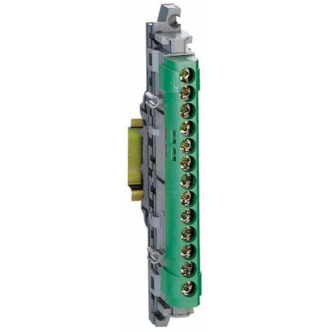 Bornier de répartition IP 2X - terre - 1 connexion 6 à 25 mm² - vert - L 113 mm