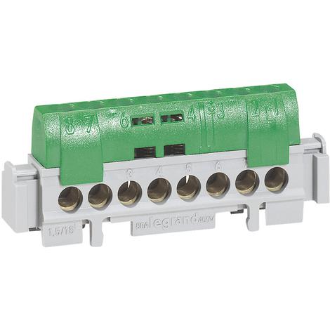 """main image of """"Bornier de répartition IP 2X - terre - 8 connexions 1,5 à 16 mm²- vert - L 75 mm"""""""