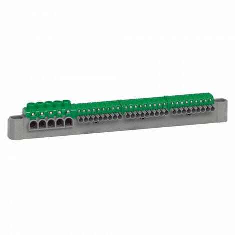 Bornier de répartition IP2X terre 5 connexions 6mm2 à 25mm2 vert longueur 227mm (405055)