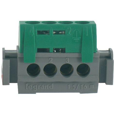 Bornier de terre - 4 bornes pour câble 1,5 à 16mm ² - vert