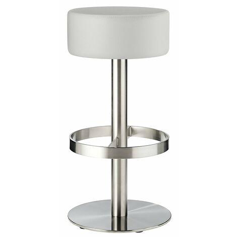 Borosin Kitchen Brushed Bar Stool Round White Seat No Back Fixed Height White Padded Brushed Steel White Brushed Steel
