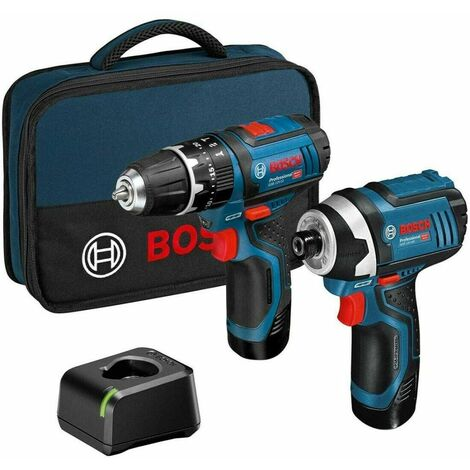 Bosch 06019A6979 12V Professional Twin Pack With 2 x 2Ah Batteries, Charger & Tool Bag