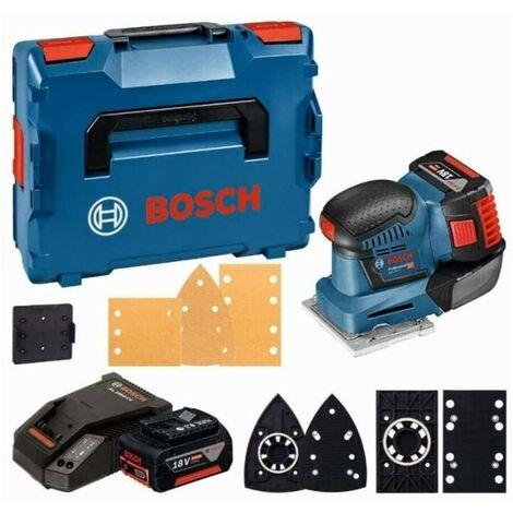Bosch 06019D0201 Lijadora orbital a batería GSS 18V-10 + 2 baterías 5,0Ah + cargador + cargador AL 1860 CV + L-Boxx