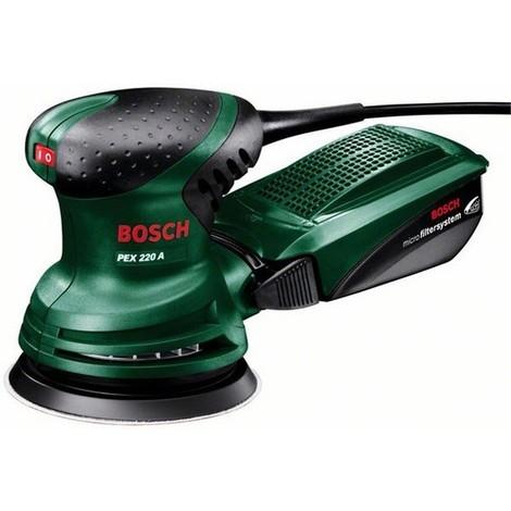 Bosch 0603378000 Lijadora excéntrica PEX 220 A 220W 4000-24000opm Baja vibración Sistema Microfiltro + Caja cartón