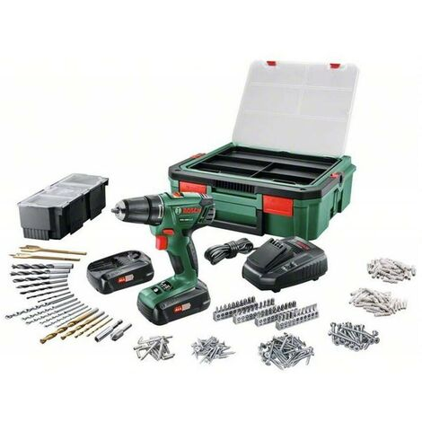 Bosch 06039A300F Atornillador a batería PSR 1440 LI-2 + 241 accesorios + 2 baterías + cargador AL 1810 CV + Systembox