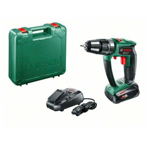 Bosch 06039B0300 Taladro percutor a batería PSB 18 LI-2 2 velocidades Ergonomic + 3 accesorios sin batería ni cargador