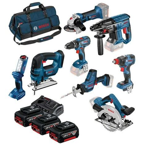 Bosch 0615990k9G Dynamic 18v 8 Piece Cordless Power Tool Kit C/W 3 x 4ah Batteries