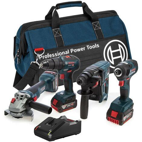 Bosch 0615990M2B 18v 4 Piece Cordless Tool Kit LBAG43 - 3 x 4ah Batteries + Bag