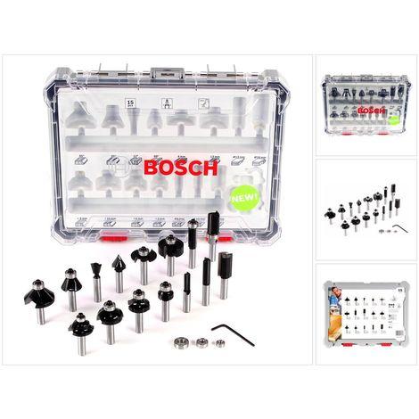Bosch 15 teiliges Mixed Fräser Set mit 8mm Rundschaft für Oberfräsen im Koffer geeignet für Holz ( 2607017472 )