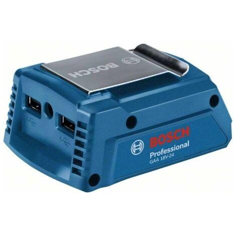 Bosch 1600A00J61 Adaptador GAA 18V-24 14,4V - 18V Professional Adaptador batería 14,4V y 18V + 2 salidas USB 12V + Caja cartón