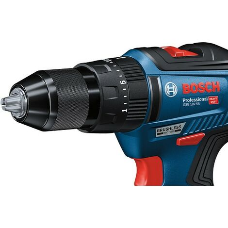 Bosch 18v GSB 18V-55 Brushless Combi Hammer Drill - 2 x 2.0ah Batteries