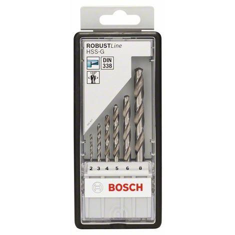 BOSCH 2607010529 HSS-G DIN338: Robustline set 6 uds: 2-8