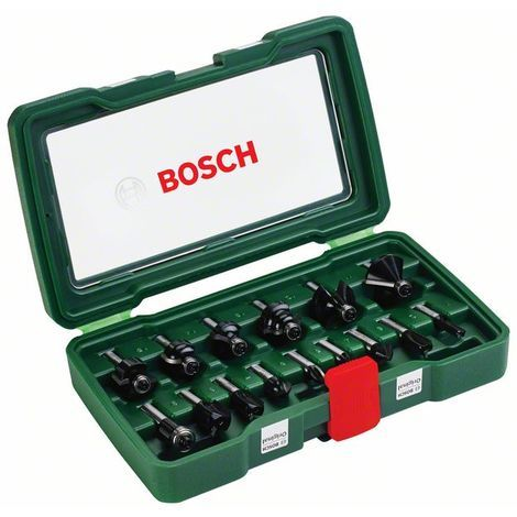 BOSCH 2607019469 Set de 15 fresas HM (vástago de Ø 8 mm)