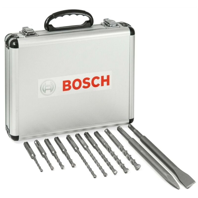 Image of 11 Piece SDS Plus Drill + Bullet Cold Flat Chisel Set Masonry + Metal Case - Bosch