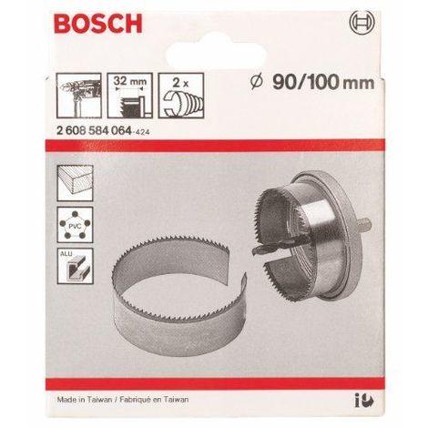 Bosch 2608584064 Scies-cloches 90; 100 mm, set de 2 pièces Couronne dentée trempée à coupe mi-fine. avec refroidissement adéquat, utilisable dans métaux non ferreux comme l\'aluminium le cuivre