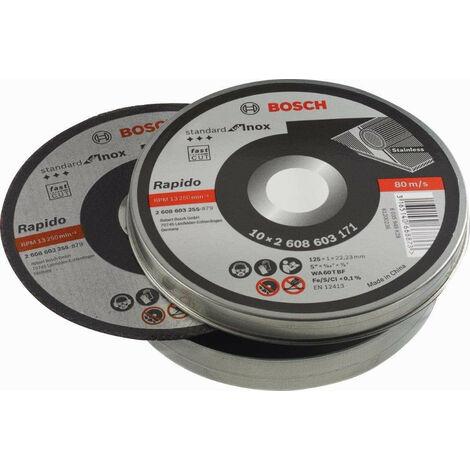 "main image of ""Bosch 2608603255 Disco abrasivo de corte Standard Inox 125x1mm lata 10 uds"""