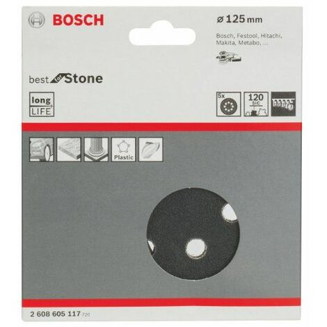 Bosch 2608605117 Disque abrasif pour ponceuse excentrique Ø 125 mm 8 Trous Grain 120 5 pièces