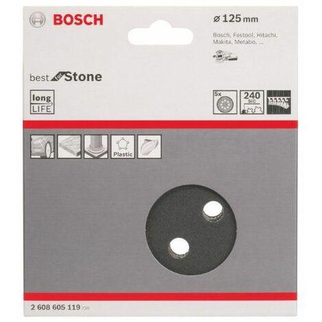 Bosch 2608605119 Disque abrasif pour ponceuse excentrique Ø 125 mm 8 Trous Grain 240 5 pièces