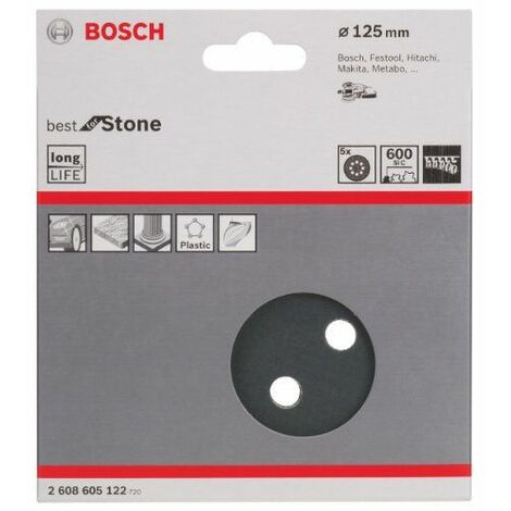 Bosch 2608605122 Disque abrasif 5 pièces 125 mm Grain 600