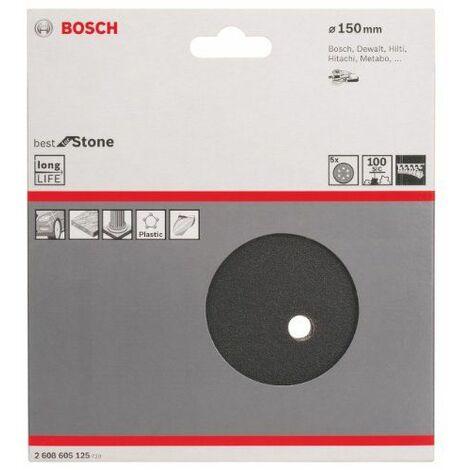 Bosch 2608605125 Disque abrasif pour ponceuse excentrique Ø 150 mm 6 Trous Grain 100 5 pièces