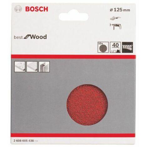 Bosch 2608605438 Lot de 10 disques abrasifs pour meuleuse d\'angle diamètre 125 mm grain 40 fixation velcro