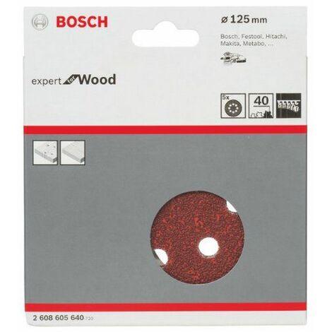 Bosch 2608605640 Disque abrasif pour ponceuse excentrique Ø 125 mm 8 Trous Grain 40 5 pièces