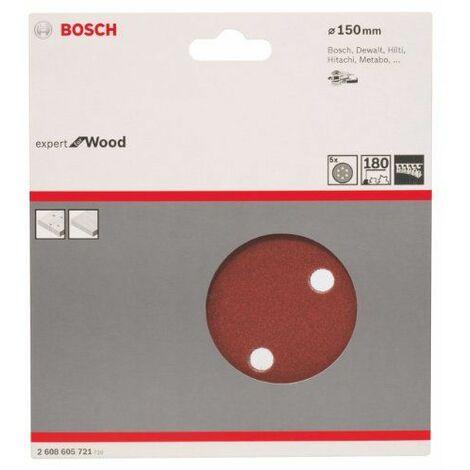 Bosch 2608605721 Disque abrasif pour ponceuse excentrique Ø 150 mm 6 Trous Grain 180 5 pièces