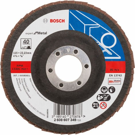 Bosch 2608607349 Flap Disc 115 x 22.23mm 40 Grit for Metal