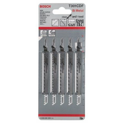 Bosch 2608636229 Lame de scie sauteuse T 301 CDF Clean for Hard Wood T 301 CDF BIM, denture pointue, rectifiée, dos dépouillé Bois dur tendre (4 - 65 mm), panneaux replaqués / HPL, 5 pièces