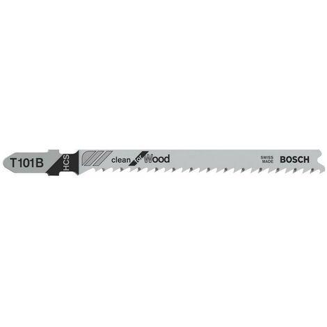 Bosch 2608637876 Lame de scie sauteuse T 101 B Clean for Wood T 101 B HCS, rectifiée, dos dépouillé Bois tendre, panneaux de particules, panneaux lattés, panneaux de fibres 3 - 30 mm, 100 pièces