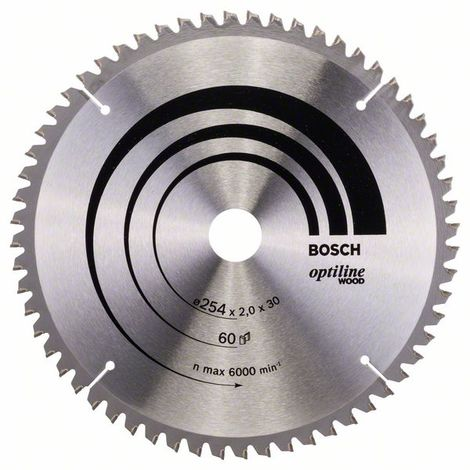 BOSCH 2608640436 Hoja de sierra circular Optiline Wood 254 x 30 x 2,0 mm 60