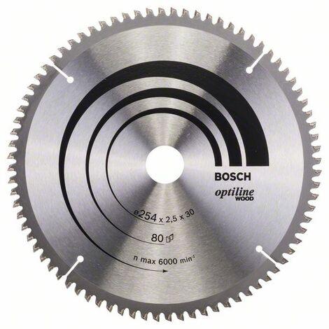 BOSCH 2608640437 Hoja de sierra circular Optiline Wood 254 x 30 x 2,5 mm 80