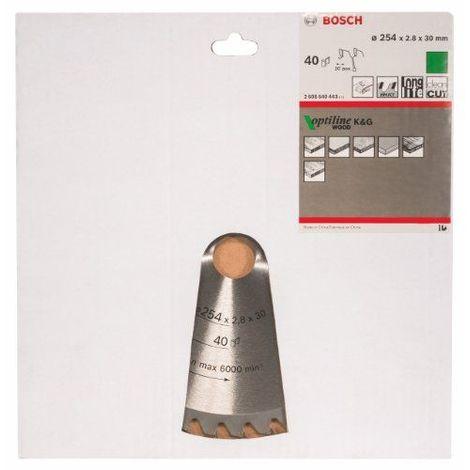 Bosch 2608640443 Lame de scie circulaire Optiline Wood 254 x 30 x 2,8 mm, 40, 1 pièce