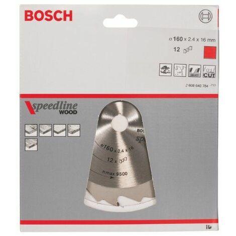 Bosch 2608640784 Lame de scie circulaire Speedline Wood 160 x 16 x 2,4 mm, 12, 1 pièce