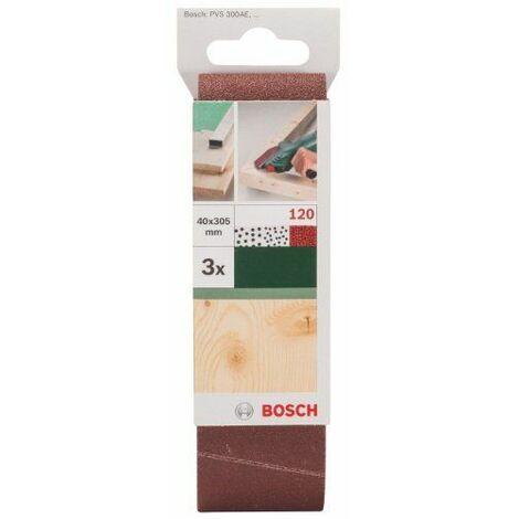 Bosch 2609256184 Set de 3 rubans abrasifs pour Ponceuse à ruban 40 x 303 mm Grain 120