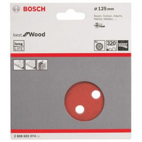 BOSCH 5 disques abrasifs Ø 125 mm Best for Wood