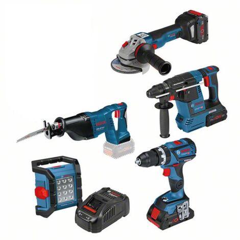 Bosch 5 outils ? batterie: GSB 18V-60C, GWS 18V-10 C, GBH 18V-26, GSA 18 V-LI, GLI 18V-1200C - 0615990L52