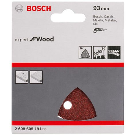 Bosch 93mm Wood Sanding Delta Sheets Mixed Grit Pack of 6 2608605191