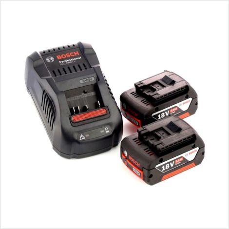 Bosch Basis Set 18 V avec - 2x Batteries GBA 18 V 5,0 Ah Li-Ion + Chargeur GAL 1880 Schnell