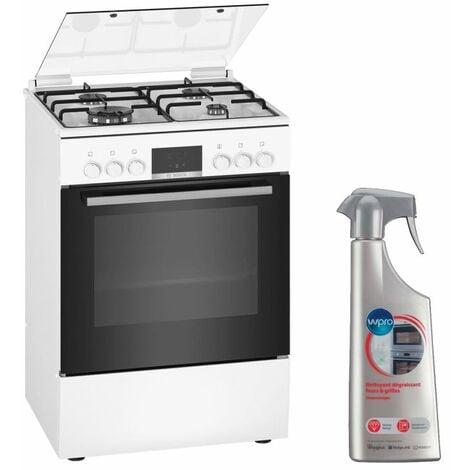 BOSCH Cuisinière 4 foyers brûleurs gaz blanc 60x60cm Four EcoClean Feu WOK 4KW Gazinière 66L - Blanc